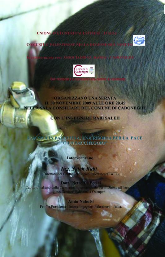 VOLANTINO 30 NOVEMBRE  acqua in palestina